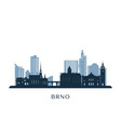 brno skyline monochrome silhouette vector image vector image