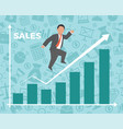business man jump over growth graph vector image vector image