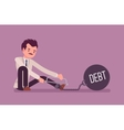 Businessman chained with a metall weight Debt vector image vector image