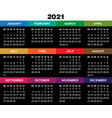 calendar for 2021 year on black background vector image vector image