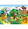 Cartoon animals in forrest vector image vector image