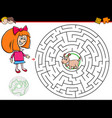 cartoon maze game with girl and puppy vector image vector image