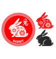 chinese zodiac symbol rabbit vector image vector image