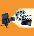 cinema entertainment with clapperboard and camera vector image vector image