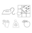 cleaning and maid outline icons in set collection vector image