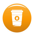 coffee plastic cup icon orange vector image