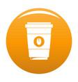 coffee plastic cup icon orange vector image