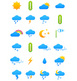 color weather forecast icons set vector image