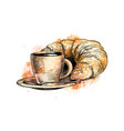 cup coffee and a croissant from a splash of vector image