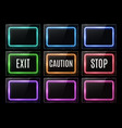 exit caution stop light sign color rectangle frame vector image vector image