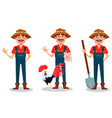 farmer cartoon character set vector image