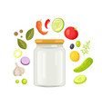 glassware empty jar with vegetable and spice frame vector image