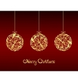 Gold Christmas balls on red background vector image vector image