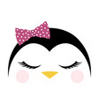 greeting card with cute penguin valentine day vector image