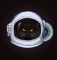 grumpy fat cat face in a space helmet vector image