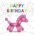 happy birthday pink balloon horse shape confetti vector image vector image