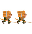 Happy cartoon man walking with fishing rod and big vector image vector image