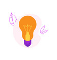 incandescent light bulb flat icon with yellow vector image vector image