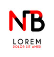 initial letter nb with red black and has rounded vector image vector image