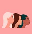international womens day three multy ethnic women vector image