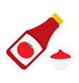 ketchup bottle and tomato ketchup in a bowl vector image vector image