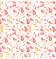 leaf pattern in red and yellow on white background vector image