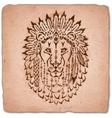 lion in war bonnet hand drawn animal vector image