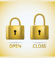 Locked and unlocked Padlock gold text open close vector image