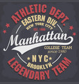 manhattan t-shirt graphics new york athletic vector image vector image