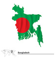 Map of Bangladesh with flag vector image vector image