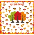 Mushrooms autumn pattern frame made of leaves vector image vector image