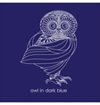 owl in dark blue vector image vector image