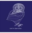 owl in dark blue vector image