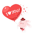 pink bunny holding big red balloon with t vector image