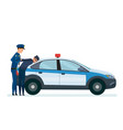 police officer arrests thief on hood police car vector image