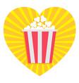 popcorn heart shape i love movie cinema icon in vector image vector image