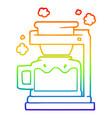 rainbow gradient line drawing cartoon coffee pot vector image vector image
