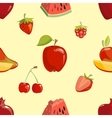 Red fruits seamless pattern over white background vector image