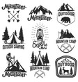 set mountain camp emblems outdoor vector image vector image