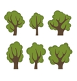 Set of Different Green Trees Cartoon Style vector image