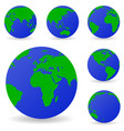 set of globe icons showing earth with all vector image vector image