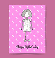 Sketch Mothers day with cute girl vector image vector image