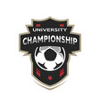 university championship soccer logo vector image vector image