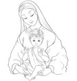 virgin mary with child jesus cartoon coloring page vector image vector image