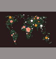 world map flowers and ladybugs graphics vector image