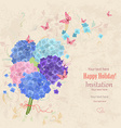 lovely bouquet of blue and pink hortensia with vector image
