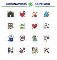 16 flat color filled line set corona virus vector image vector image