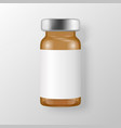 3d realistic brown bottle vaccine icon vector image