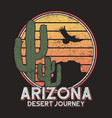 arizona t-shirt typography with cactus mountain vector image vector image