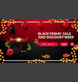 black friday sale and discount week red and black vector image